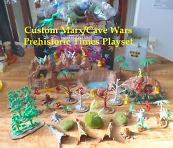Custom Marx/cave Wars Prehistoric Times Dinosaur Playset W/45 Monsters And 20 Cave
