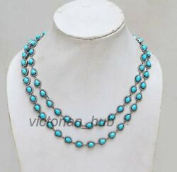 Victorian 925 Sterling Silver Rosecut Diamond Turquoise 2 Line Necklace Jeweler