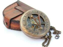 Handmade Antique Pocket Locket Leather Case Sundial Compass Brass And Chain Gift