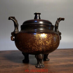 7 Antique Old China Bronze Gilt Three Foot Incense Burners Asian Collection