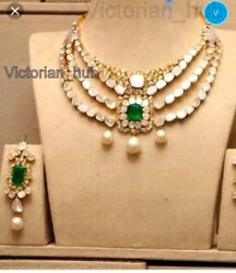 Real Natural Diamond Polki Emerald Pearl Three Line Necklace Gold And 925 Silver