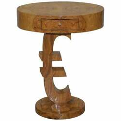 Lovely Art Deco Style Burr Walut Side End Lamp Table With Euro Sign Base