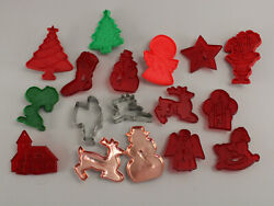 Lot Of 17 Vintage Holiday Cookie Cutters Red And Green Hrm Plastic And Metal Snoopy+