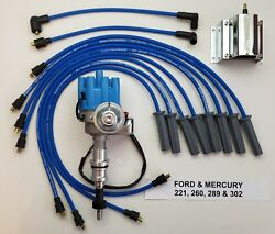 Ford 289 302 Small Female Cap Hei Distributor + 60k Coil + 8.5mm Plug Wires Blue