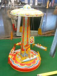 Musical Mechanical Space Ride Vintage Tin Toy Made In Usa J. Chein And Company