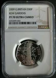 Great Britain Uk 50 Pence 2009 Silver Proof Coin Kew Gardens Ngc Pf70uc Rare