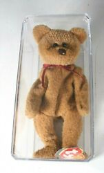 """Ty Beanie Baby """"curly"""" The Bear With Brown Nose Tag Errors Retired 1996 In Box"""