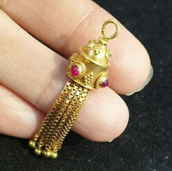 Old Victorian Intricate Lovely Movable Jelly Fish Ruby Solid Gold 22k Pendant