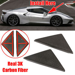 Real 3k Dry Carbon Fiber Front Window Triangle Plate Cover For Ferrari 458 11-16