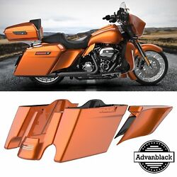 Amber Whiskey Stretched Saddlebag Rear Fender Side Covers For 14+ Harley Touring