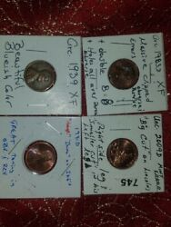 Lot Of 4 Lincoln Cents Bu 2009-d 1991-d 1983-d And 1939-p All Error Coins