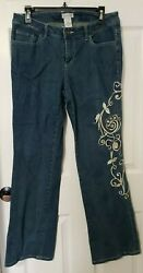 Monroe And Main Embroidered Bootcut Jeans Size 10 Very Nice