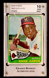 Hank Aaron 1965 Topps 170 Graded Gem Mint 10 Rare Priced To Sell