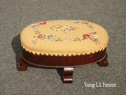 Antique French Country Tan Needlepoint Floral Footstool W Decorative Nails