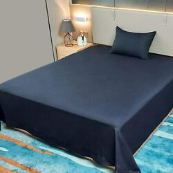 Allo King Size Flat Sheet Only Navy Sheets Brushed Microfiber 1800 Bedding Top