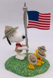 2012 Beagle Scout Salute Hallmark Ornament Snoopy and Woodstock Peanuts