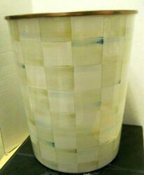 Mackenzie Childs Parchment Check Wastebasket Trash Can - New And Rare