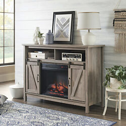 Farmhouse Electric Fireplace Tv Stand For 50-inch Tvs Rustic Gray Media Console