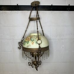 Victorian Glass Lamp Reverse Painted Roses Shade Hanging Oil Lamp W/ Prisms