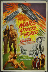 Mars Attacks The World R1950 Original 27x41 Movie Poster Buster Crabbe