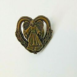 Guardian Angel Heart Lapel Hat Pin Vintage D And D Marketing 3/4 X 3/4