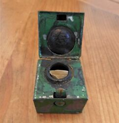 Old Travel Inkwell Pen Pens Fountain Ink Well Old Green Paint Small - No Handle