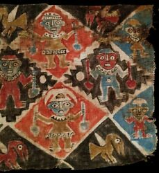 Pre-columbian Large Chancay Painted Textile