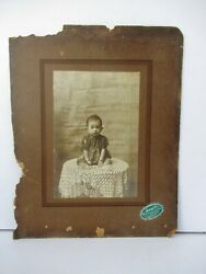 Antique Photograph Kids Childrenand039s Sweet Girl Sitting On Table B/w Image Rare 8