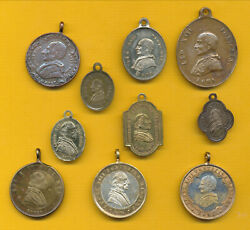 B434 10 Antique Bronze Or Brass Charm Catholic Medals Pope Leo Xiii