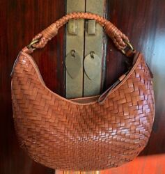Cole Haan Handbag #x27;Genevieve#x27; Top Zip Hobo Small Woven Cognac Leather $182.00