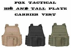 Big And Tall 2xl/3xl Adjustable Molle Tactical Plate Carrier Vest Coyote Tan