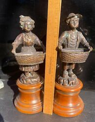 Theodore Alexander Bronze Like Collectible Home Decor Boy And Girl Art Figurines