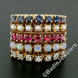 Vintage 14k Gold Round Ruby Sapphire Diamond Opal Pearl 5 Band Harem Stack Ring