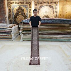 Yilong 1and039x5and039 Handmade Silk Carpet Hallway Gallery Rug Runner All-over L038h