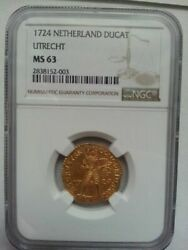 Netherlands Ducat Coin 1724 Ngc Ms 63 Free Shipping From Japan W/tracking8525n