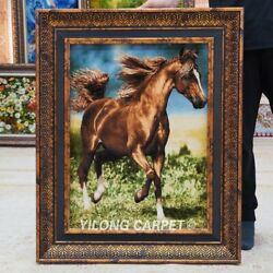 Yilong 1.6and039x2.3and039 Handmade Wool Silk Carpet Horse Animal Home Tapestry Gt007