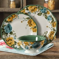 The Pioneer Woman Rose Shadow 12 Piece Dinnerware Set Ceramic Yellow Blue Floral