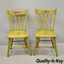 Frederick Loeser And Co Yellow Primitive Hitchcock Style Side Chairs - Pair A