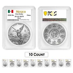 Lot Of 10 - 2020 1 Oz Mexican Silver Libertad Coin Pcgs Ms 70 Fs