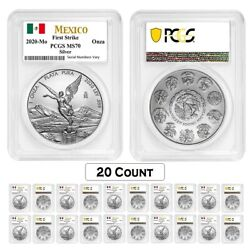 Lot Of 20 - 2020 1 Oz Mexican Silver Libertad Coin Pcgs Ms 70 Fs