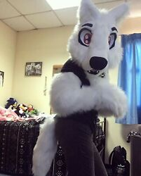 White Wolf Partial Fur Suit Furry Fursuit Cosplay Head Tail Paws