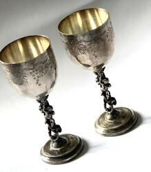 Two Smart Vintage Solid Sterling Silver 925 Goblet Cup 128 G