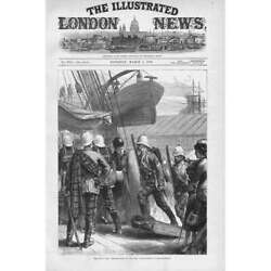 Zulu War Embarkation Of The 21st Highlanders At Southampton - Antique Print 1879