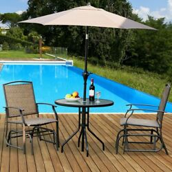 Glider Chair 2-piece Set Patio Chairs Swing Single Rocking Seating Brown Metal