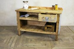 Large Rustic Pine Sideboard / Kitchen Unit For Country Interior