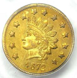 1872 Indian California Gold Dollar Coin G1 Bg-1207 - Pcgs Ms60 - 2200 Value