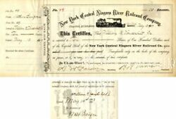 New York Central Niagara River Railroad Company Issued To And Signed By Wm. K. V