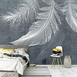 3d Grey White Feather Abstract Wall Mural Wallpaper Living Room Bedroom Lounge