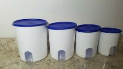 New Tupperware One Touch Reminder 4pc Canister Set Sapphire Blue Seal