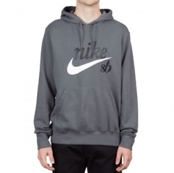 Nike Sb Icon Washed Skate Hoodie Ct5323 010 Gray/white-black New Menand039s Size S